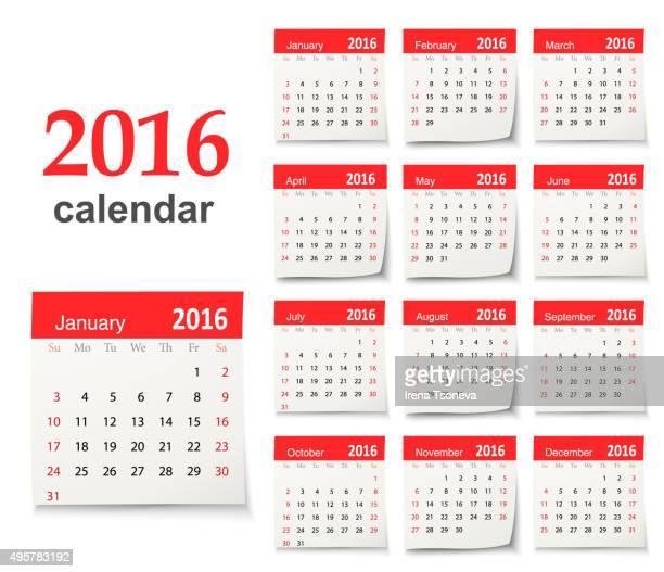 Calendário para 2016-Vector