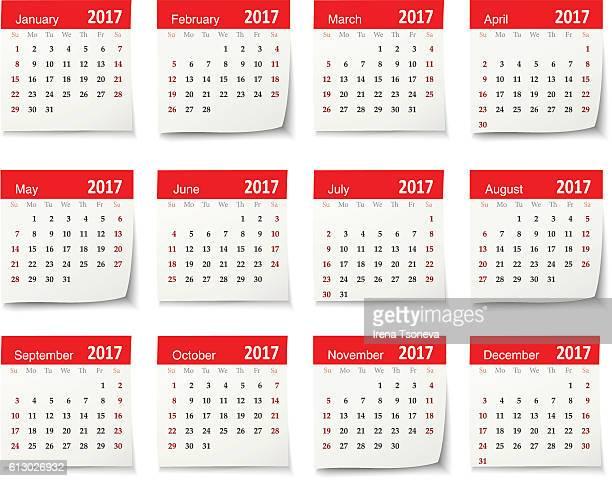 calendar for 2017 - vector - 2017 stock illustrations
