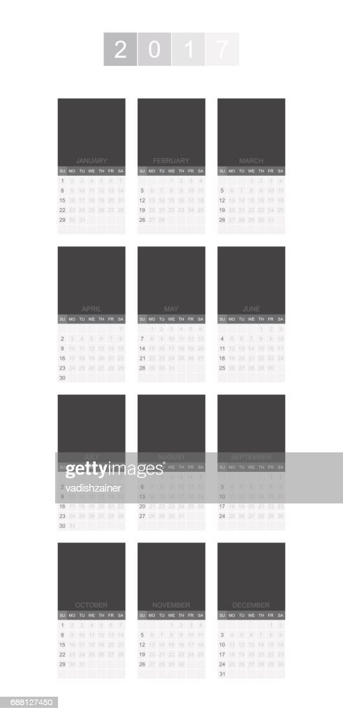 Calendar for 2017 Year vertical format. Week starts monday. Vector template for business graphics.