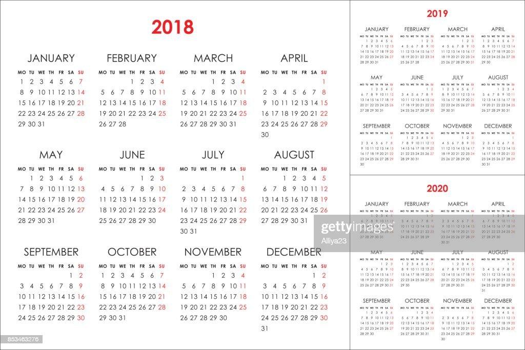 Calendar for 2018, 2019, 2020 years