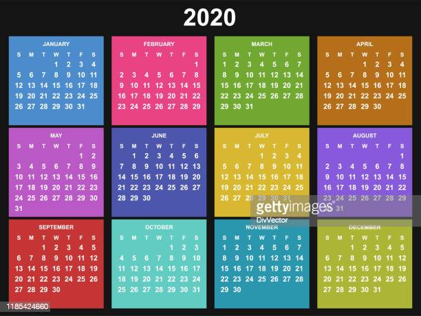 calendar for 2020 year - annual event stock illustrations