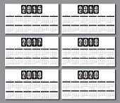 calendar grid 2015, ... 2020  for business card