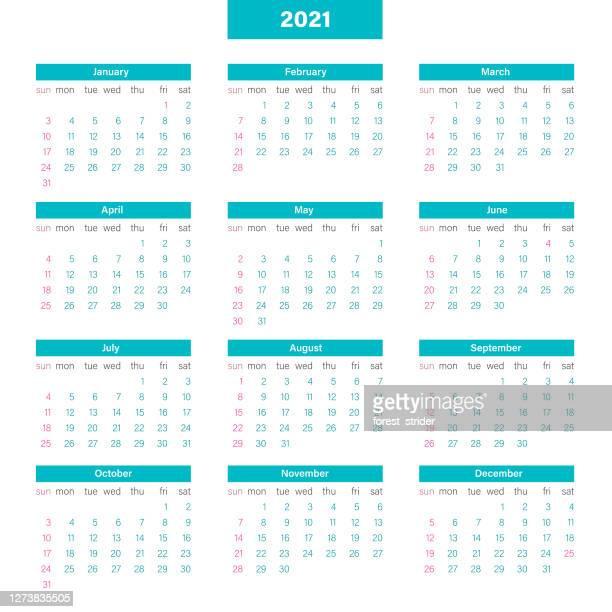 kalenderraster 2021, veranstaltertage ab sonntag - jährliches ereignis stock-grafiken, -clipart, -cartoons und -symbole