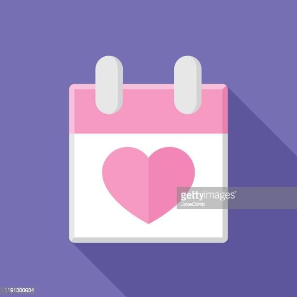 calendar heart icon flat - anniversary card stock illustrations