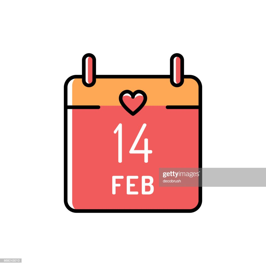 Calendar icon 14 February Valentines day. Love colorful symbol. Line art design, Vector flat icon