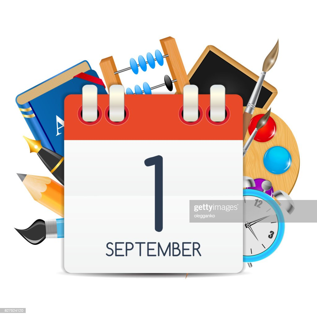 Calendar Icon of 1 September. Vector Illustration