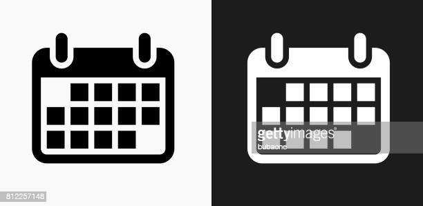 Calendar Icon on Black and White Vector Backgrounds