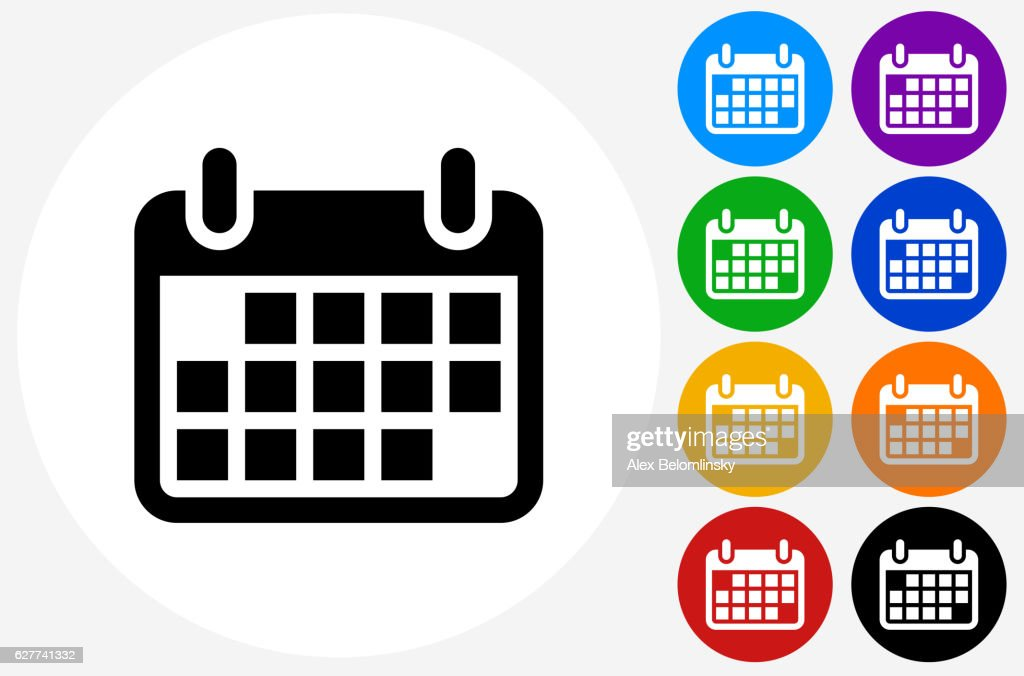 Calendar Icon on Flat Color Circle Buttons