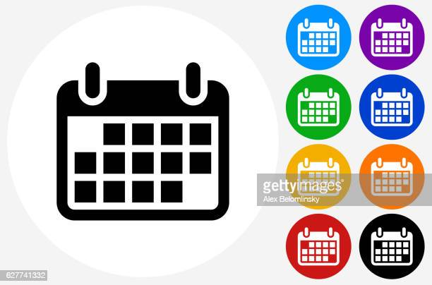 calendar icon on flat color circle buttons - personal organiser stock illustrations