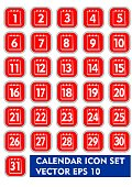 Calendar icon set in red and white design. Square icons with thin metallic frame, calendar pictogram with numbers from 1 to 31, web design elements