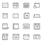 Calendar icon set. Line with Editable stroke