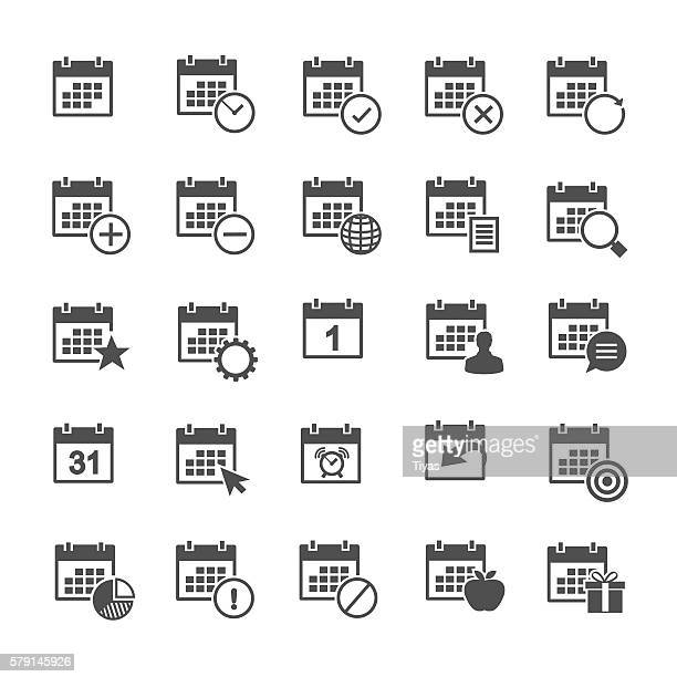 calendar icon set - day stock illustrations, clip art, cartoons, & icons