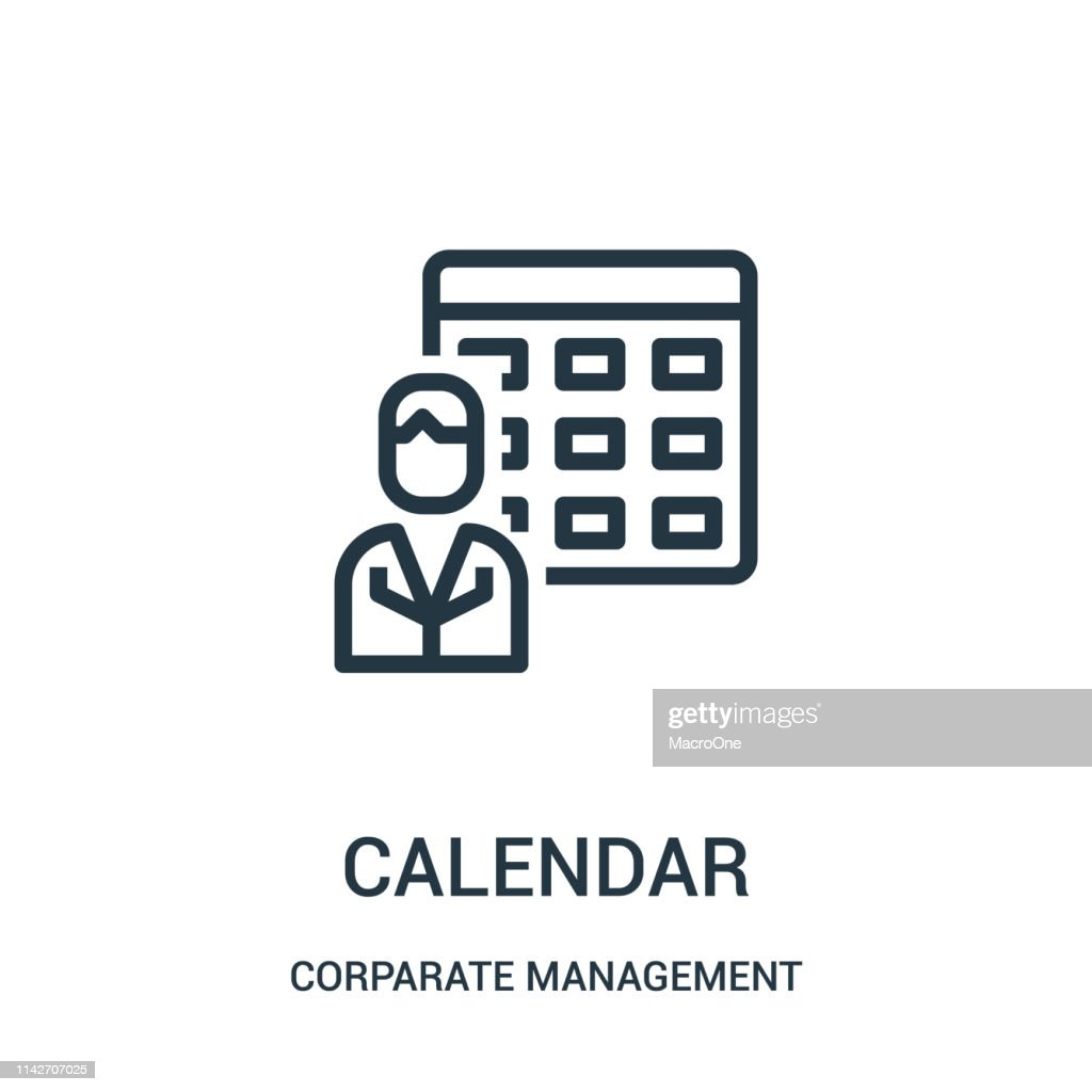 calendar icon vector from corparate management collection. Thin line calendar outline icon vector illustration. Linear symbol for use on web and mobile apps, logo, print media.
