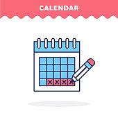 Calendar icon, vector.