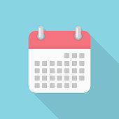 Calendar icon with long shadow on blue background, flat design style