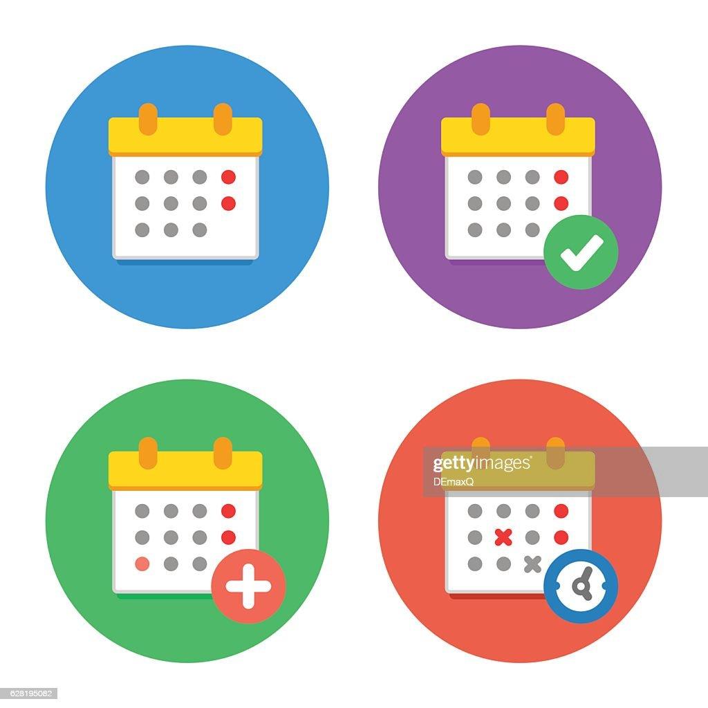 Calendar Icons Flat Vector Set