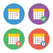 Calendar Icons Flat Vector Set