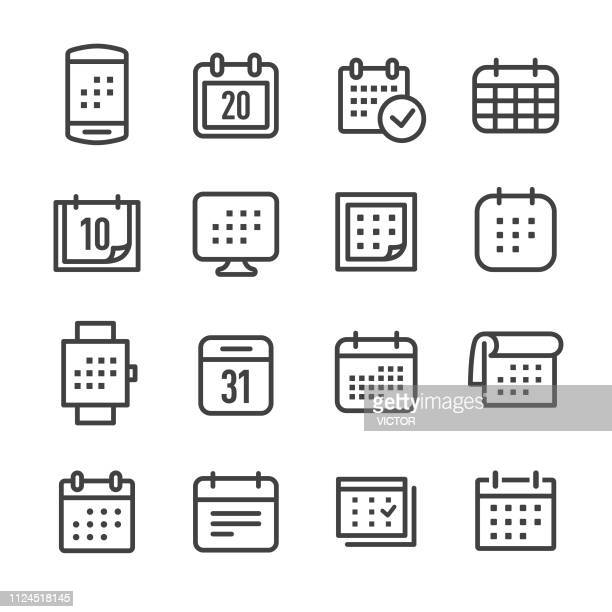 calendar icons - line series - routine stock illustrations