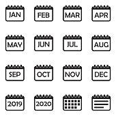 Calendar Icons. Set 2. Black Flat Design. Vector Illustration.