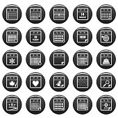 Calendar icons set vetor black