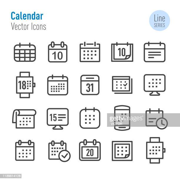 calendar icons - vector line series - personal organiser stock illustrations