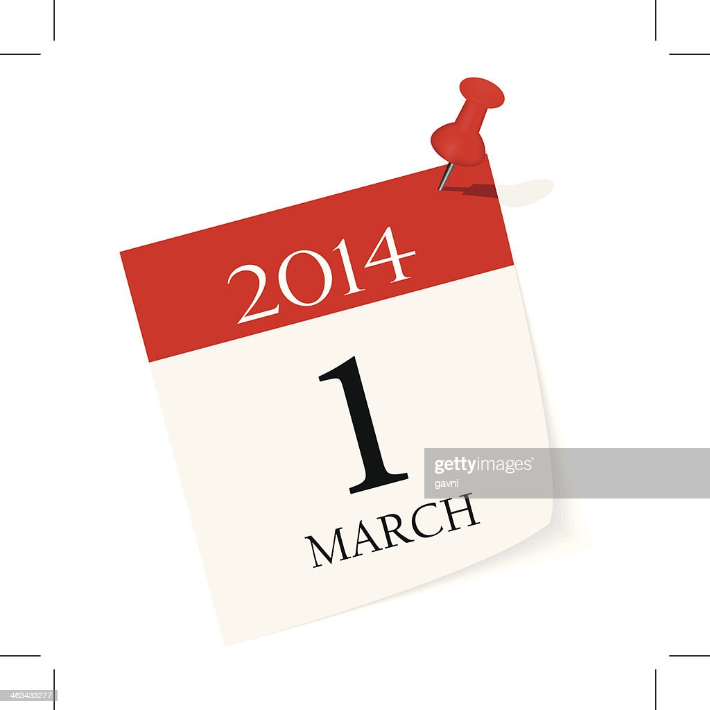 A calendar illustration of the day 1 March 2014