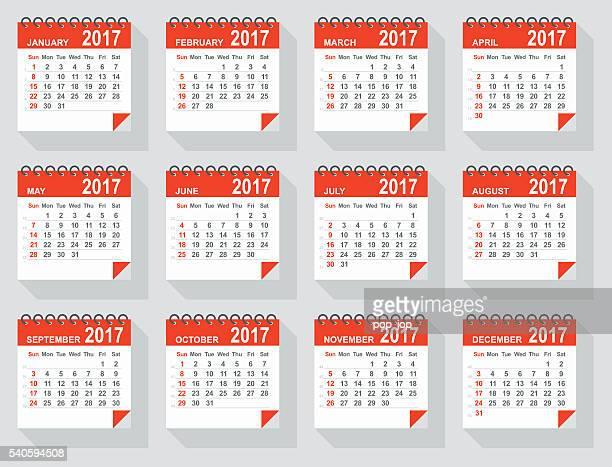 Calendário-Ilustração de 2017