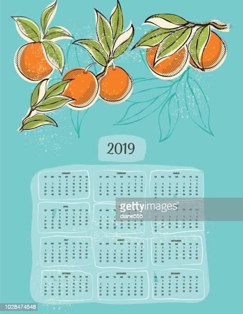 ilustrações de stock, clip art, desenhos animados e ícones de 2019 calendar in vintage style - laranjeira