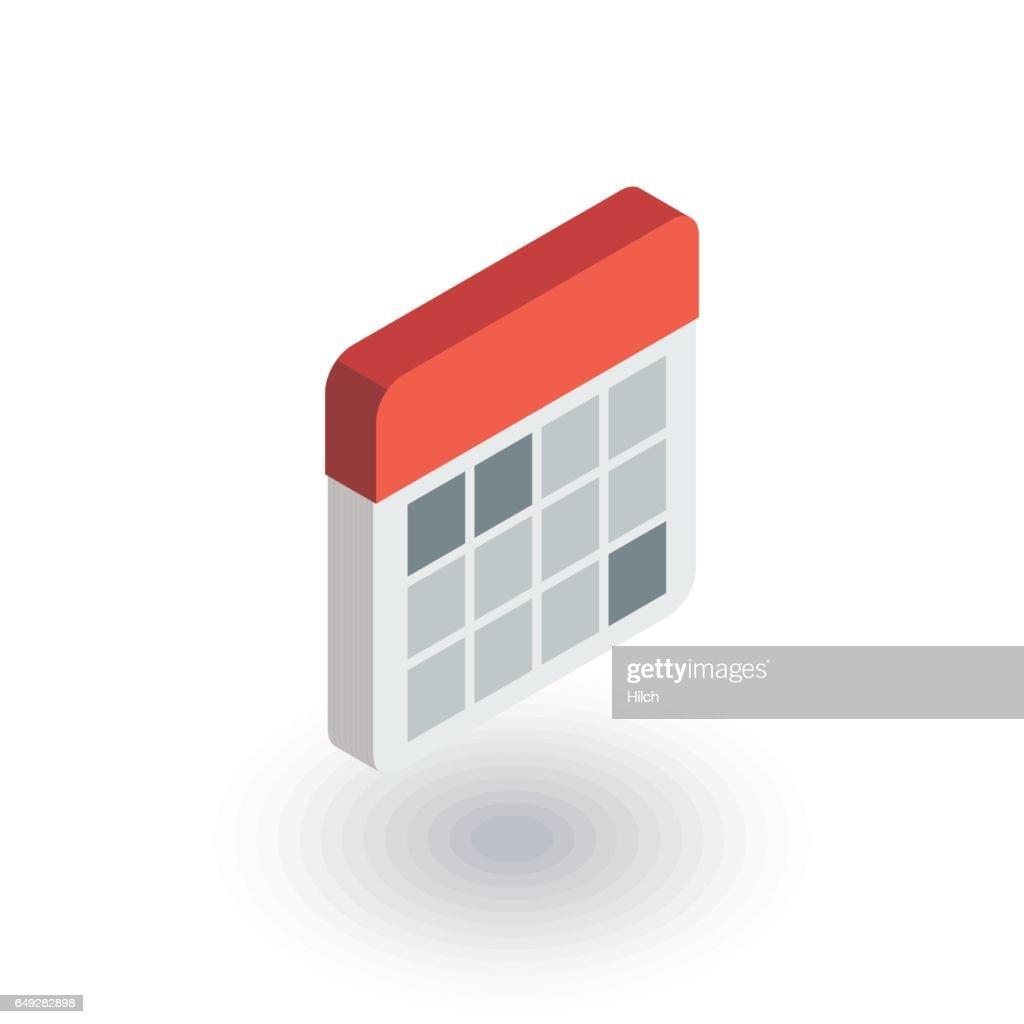 calendar isometric flat icon. 3d vector