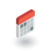 calendar isometric flat icon. 3d vector