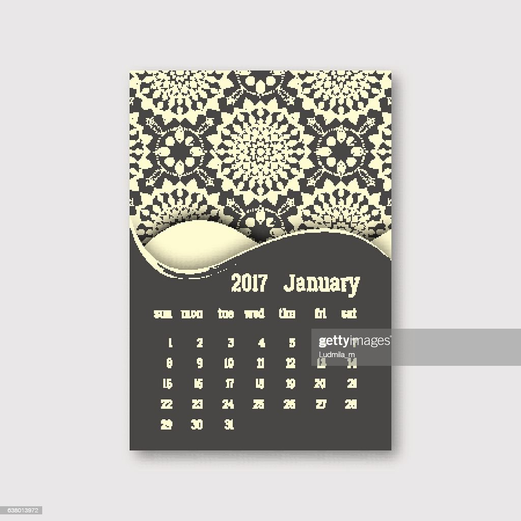 Calendar january 2017 start sunday