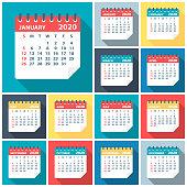 2020 Calendar Leaves Flat Set - Vector Illustration