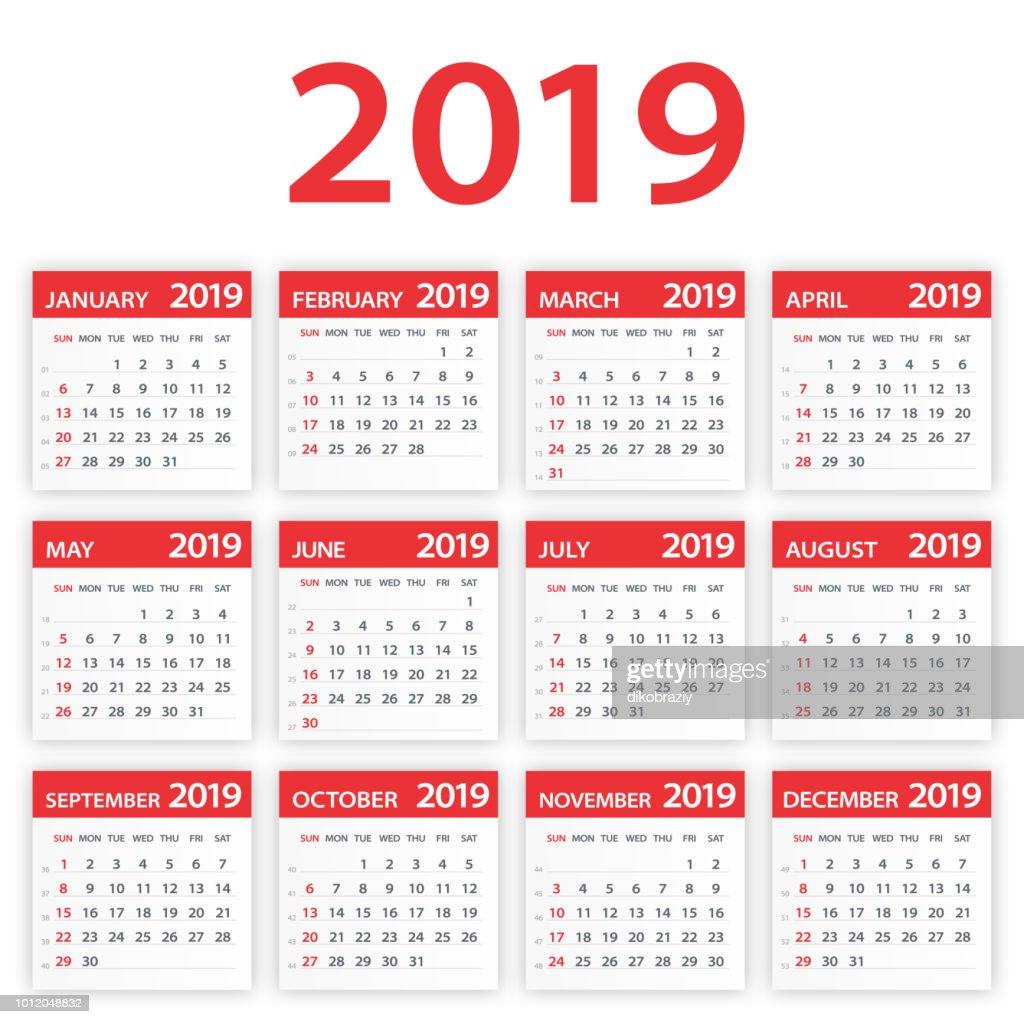 2019 Calendar Leaves Set - Vector Illustration