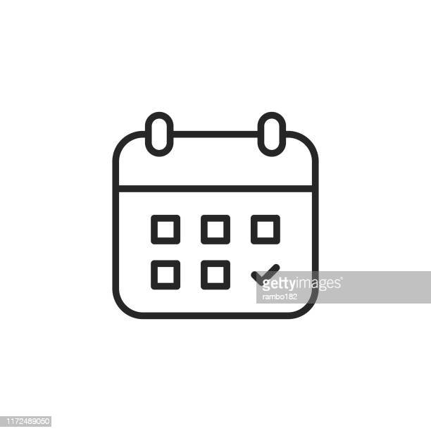 calendar line icon. editable stroke. pixel perfect. for mobile and web. - diary stock illustrations