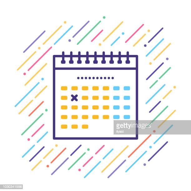 calendar line icon - diary stock illustrations