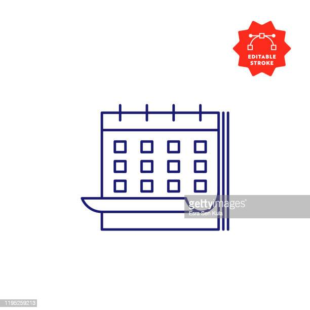calendar line icon with editable stroke and pixel perfect. - calendar date stock illustrations