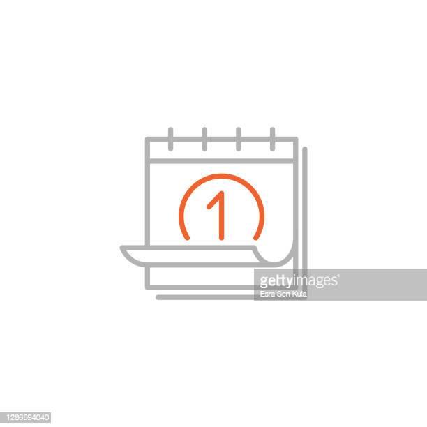 calendar line icon with editable stroke - week stock illustrations