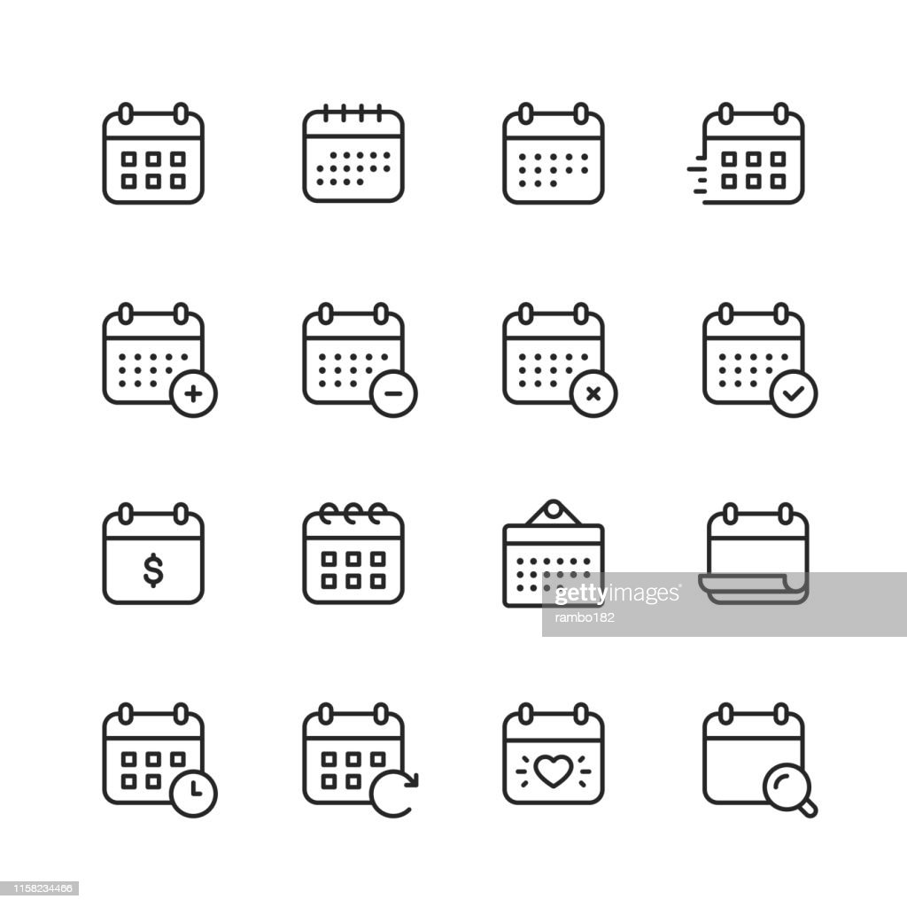 Calendar Line Icons. Editable Stroke. Pixel Perfect. For Mobile and Web. Contains such icons as Calendar, Appointment, Payment, Holiday, Clock. : Stock Illustration