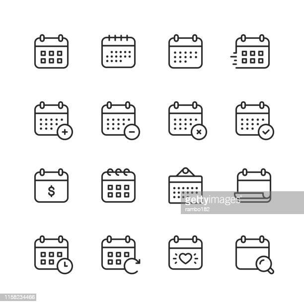 calendar line icons. editable stroke. pixel perfect. for mobile and web. contains such icons as calendar, appointment, payment, holiday, clock. - {{ collectponotification.cta }} stock illustrations