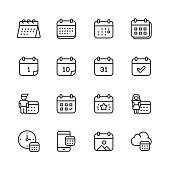 Calendar Line Icons. Editable Stroke. Pixel Perfect. For Mobile and Web. Contains such icons as Calendar, Appointment, Payment, Holiday, Clock.