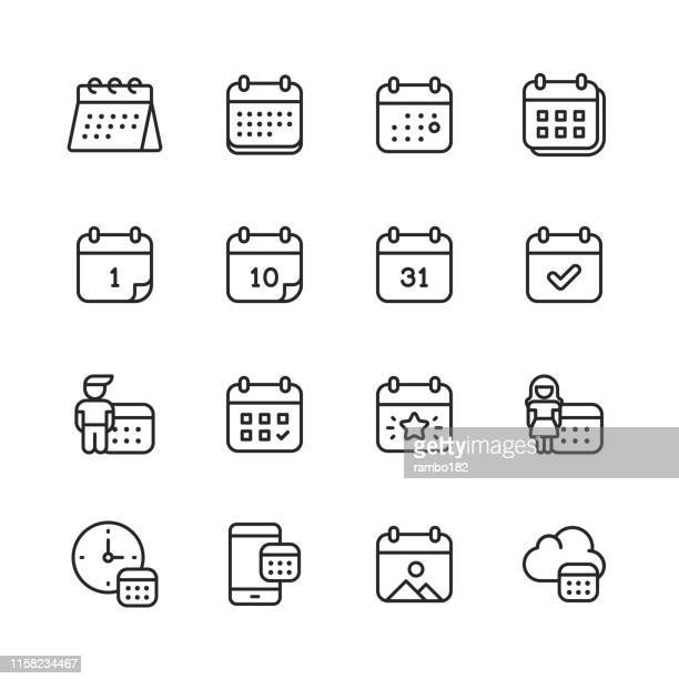 calendar line icons. editable stroke. pixel perfect. for mobile and web. contains such icons as calendar, appointment, payment, holiday, clock. - event stock illustrations