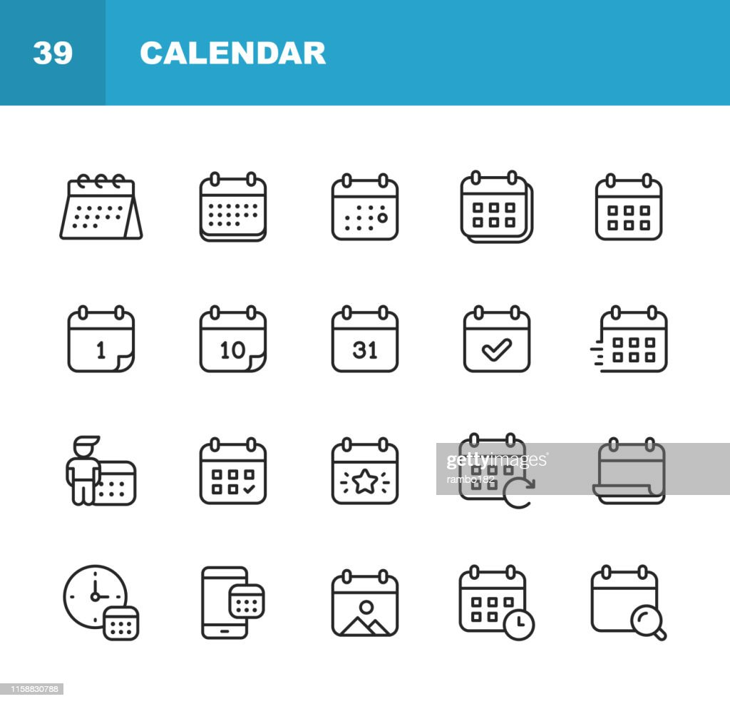 Calendar Line Icons. Editable Stroke. Pixel Perfect. For Mobile and Web. Contains such icons as Calendar, Appointment, Holiday, Clock, Time, Deadline. : stock illustration