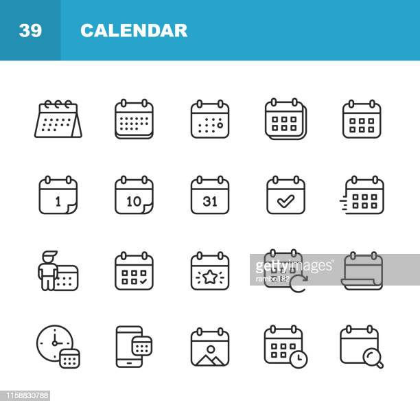 calendar line icons. editable stroke. pixel perfect. for mobile and web. contains such icons as calendar, appointment, holiday, clock, time, deadline. - day stock illustrations