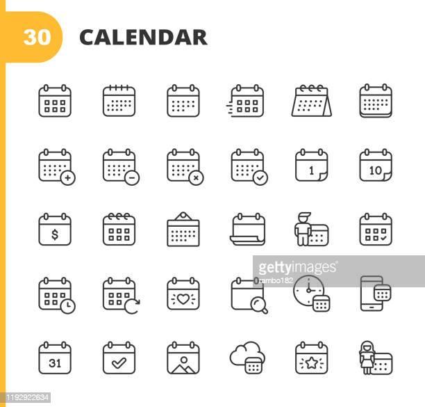 ilustraciones, imágenes clip art, dibujos animados e iconos de stock de iconos de línea de calendario. trazo editable. píxel perfecto. para móviles y web. contiene iconos como calendario, cita, vacaciones, reloj, hora, fecha límite. - día