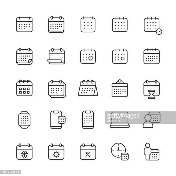 calendar line icons. editable stroke. pixel perfect. for mobile and web. contains such icons as appointment, clock, date, deadline, holiday, meeting, office, plan, schedule, school, time management, vacation, valentine's day, week, winter, year. - valentine' day stock illustrations