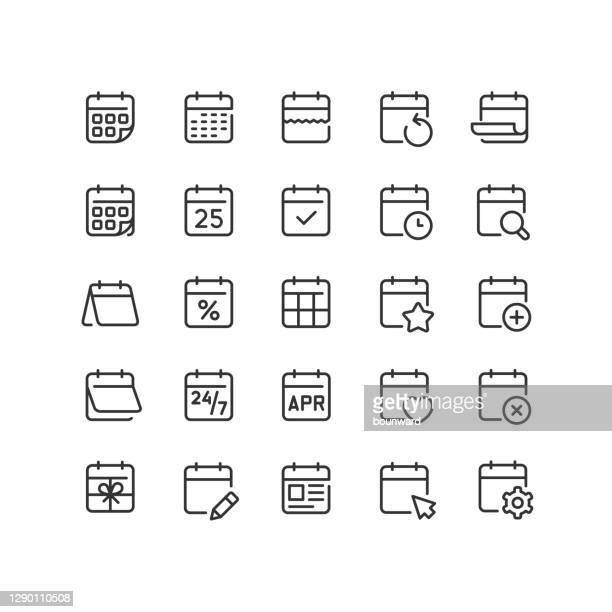 calendar line icons editable stroke - calendar stock illustrations