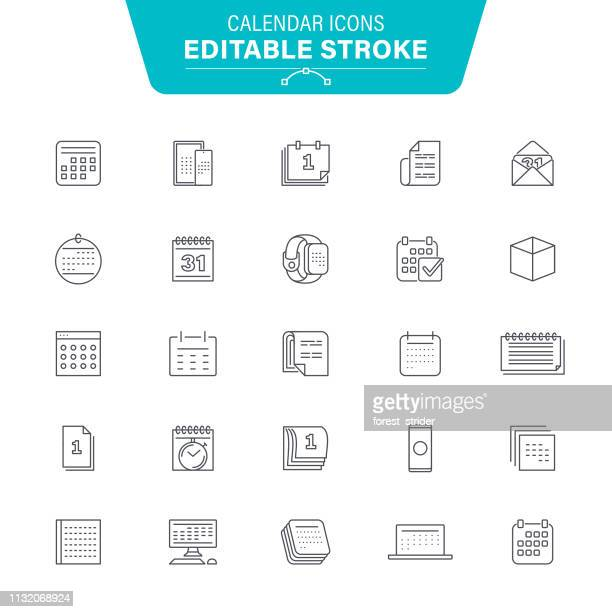 calendar line icons - organização stock illustrations