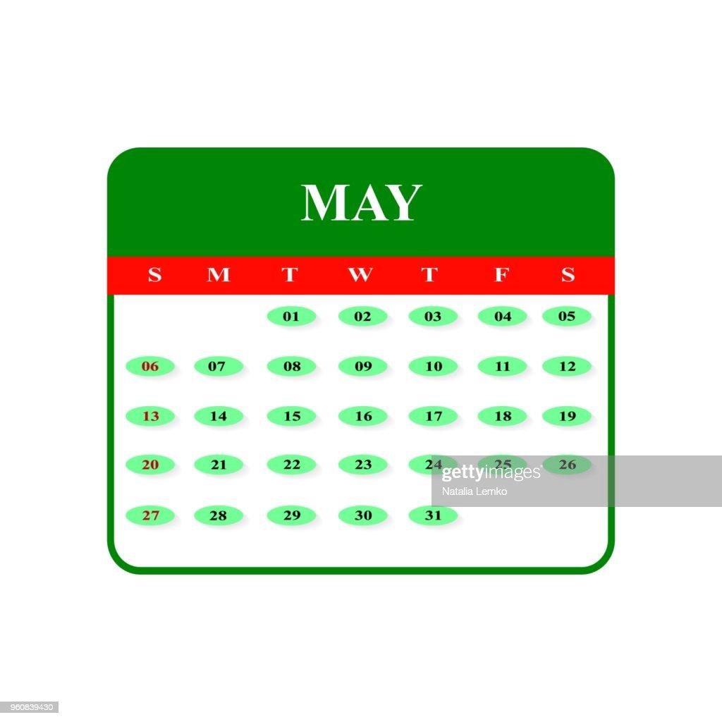 Calendar May 2018 icons
