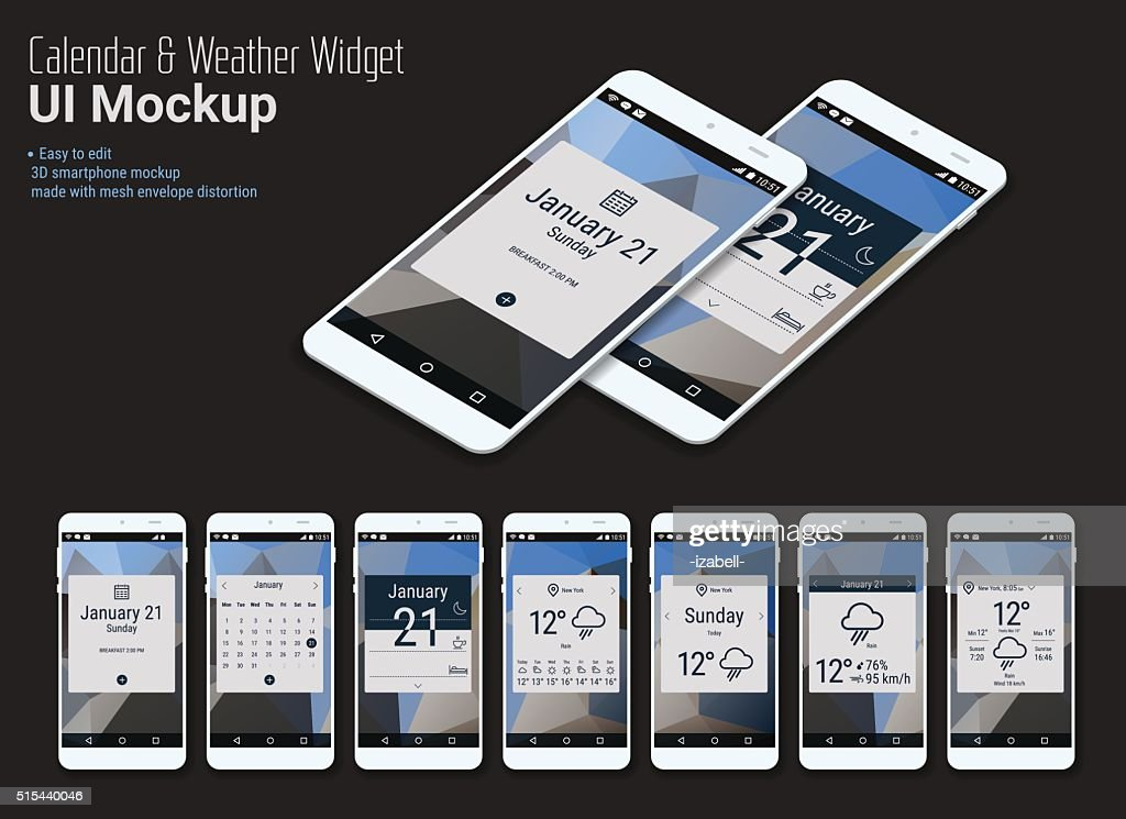 Calendar Mobile App Widgets UI Designs with Smartphone Mockups
