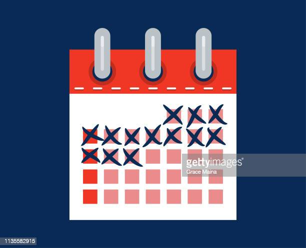 calendar month counting marked days in anticipation - counting stock illustrations